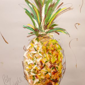 Vibrant and lively pineapple oil painting print by Artist Aly Harte. Unique gift idea