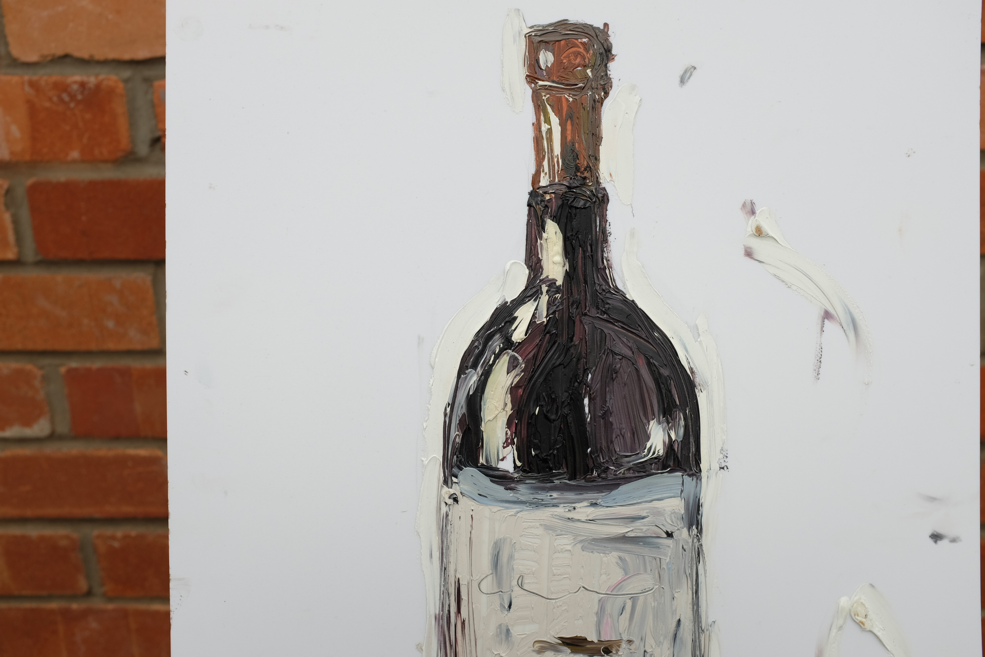 Red wine bottle painting